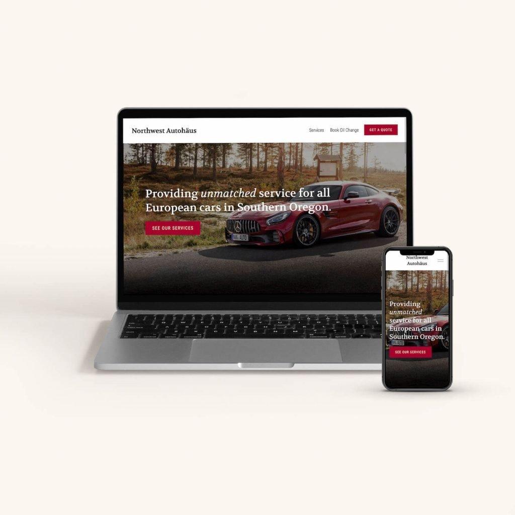 Mobile and desktop versions of Northwest Autohaus website design.