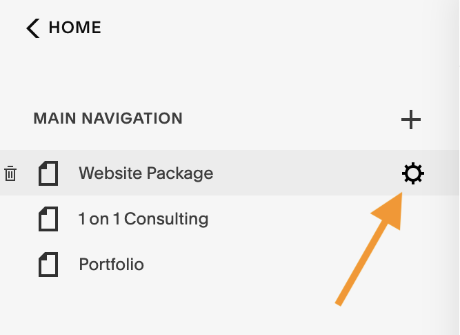 how to get to page settings in Squarespace.