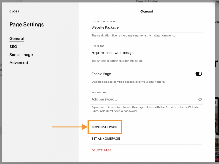How to duplicate a page in Squarespace settings.
